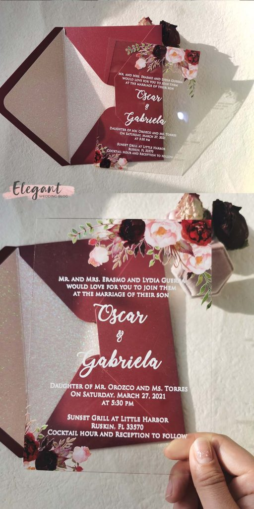 clearly bouquets moody blush and burgundy flowers acrylic wedding invitations