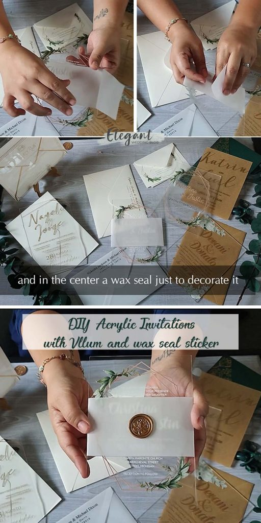 diy green acrylic wedding invitations with vellum and wax seal stickers