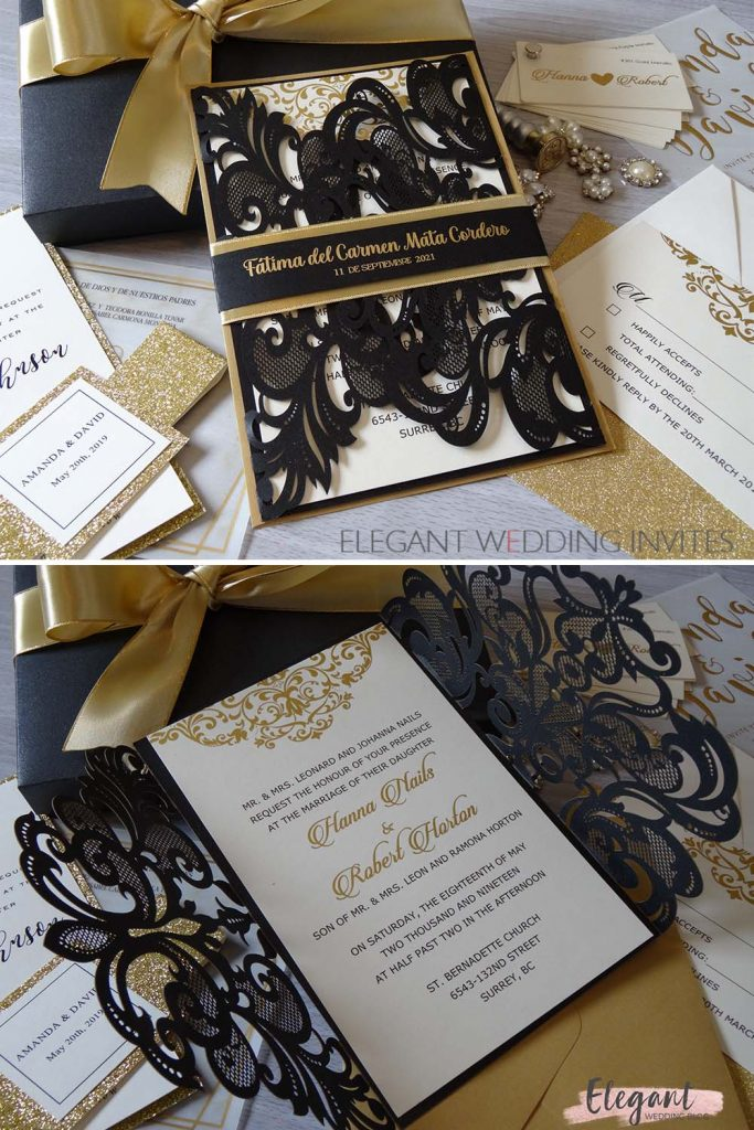 diy sophisticated black wedding invitations with gold ribbon ideas