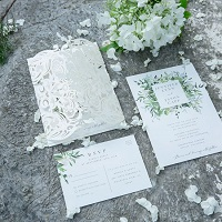 evelyn's garden lush greenery inspired invitation with ivory shimmer laser cut wrap EWDS001