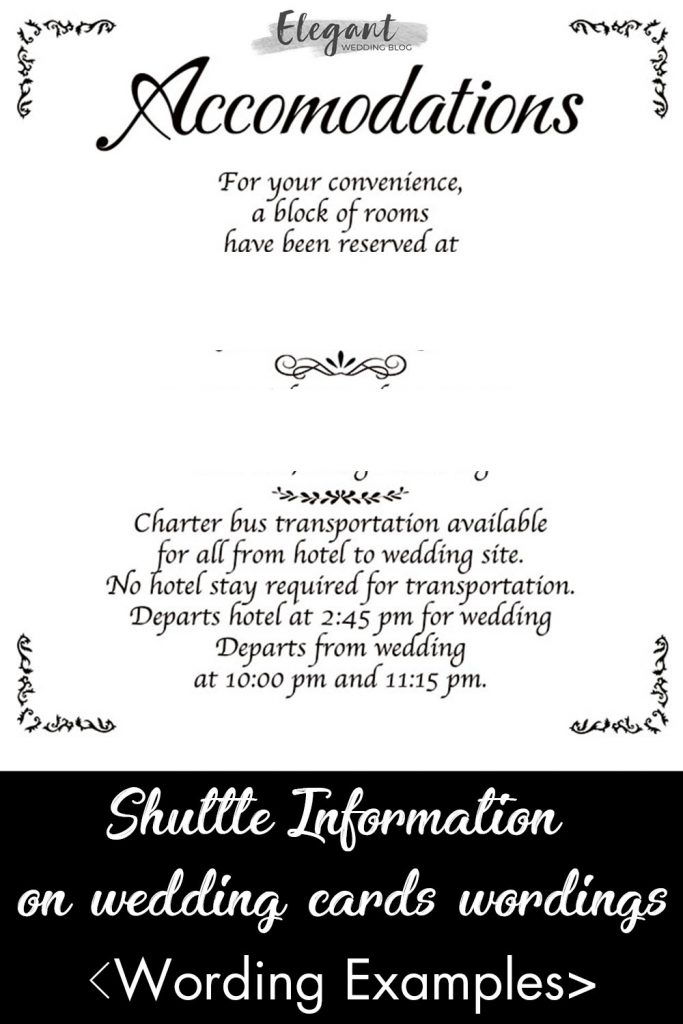 examples of shuttle information on wedding cards wordings