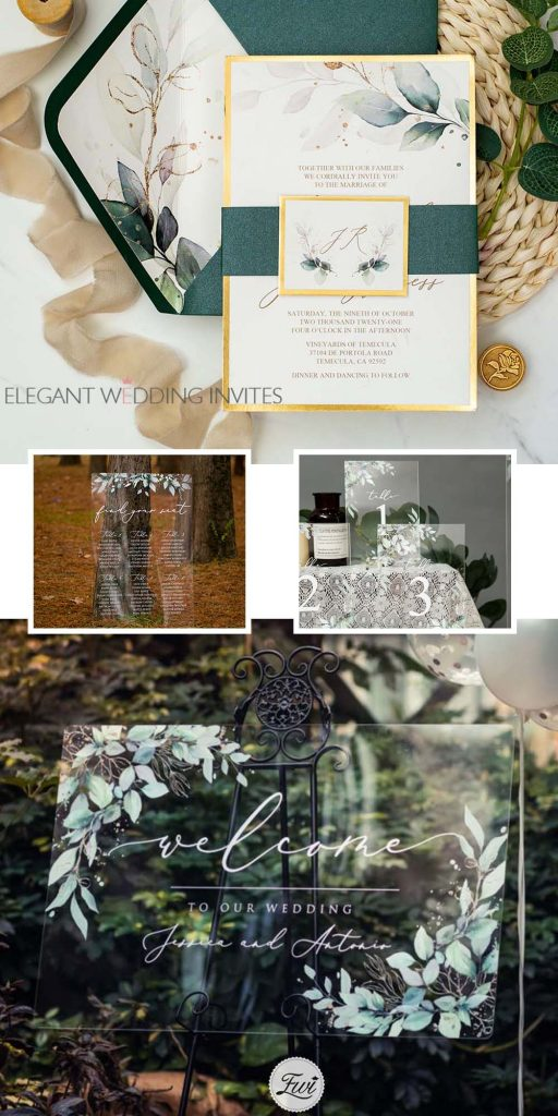 gorgeous watercolor gold leaves acrylic wedding signs matching wedding invitations