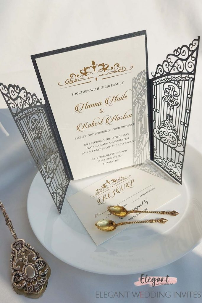 graceful metal forged lattice gate wedding invitations for outdoor wedding