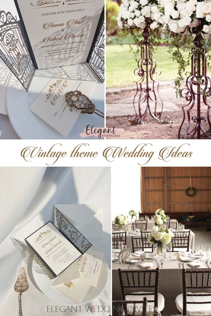 impressive vintage wedding theme with gilded dishes and decor