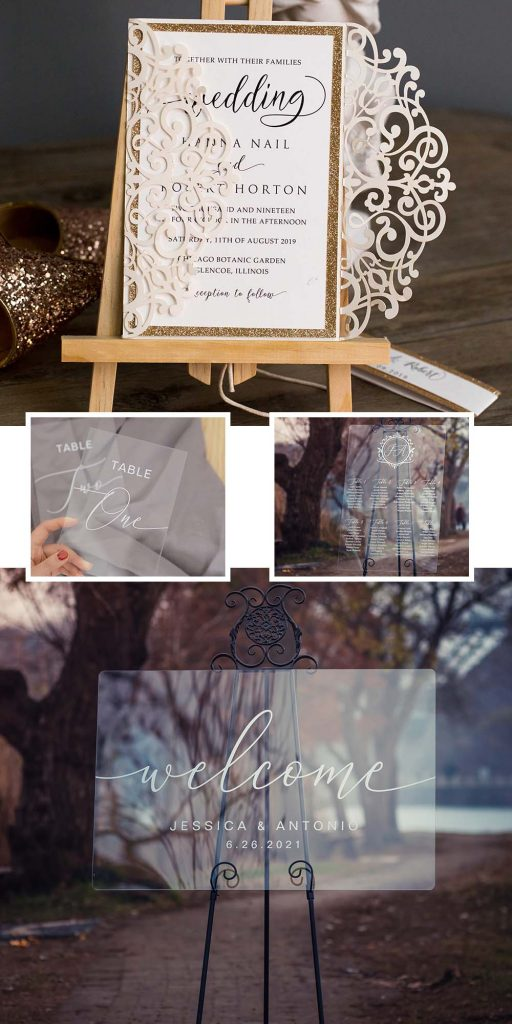modern calligraphy acrylic weding signs and wedding invitations
