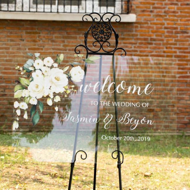 personalized elegant welcome sign ivory and white flowers greenery ewsg006