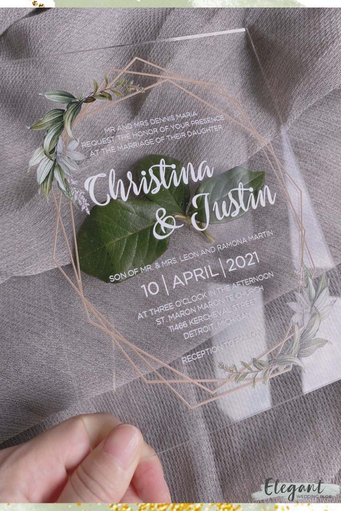 sage green crystal clear acrylic wedding invitation trend with golden lines