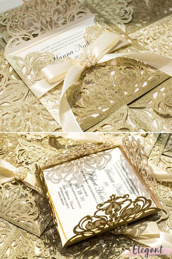 stunning champagne glittery laser cut wedding invitation with gold mirror paper and ivory ribbon EWWS299 2