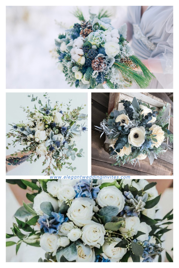 stunning winter wedding bouquets in white and blue hues