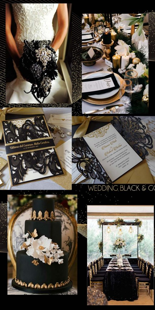 unique and elegant combination of black and gold wedding theme ideas
