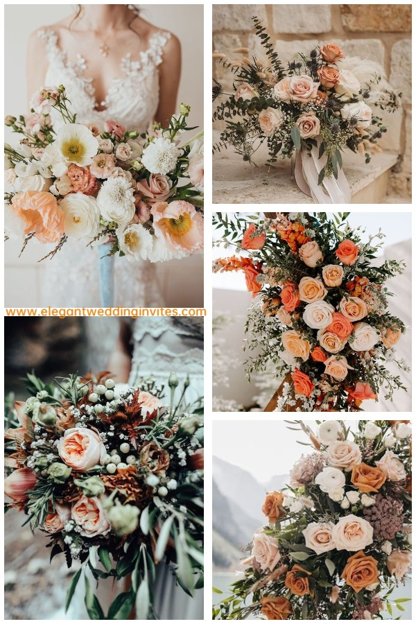 warm bonquet ideas with rust hues for winter wedding