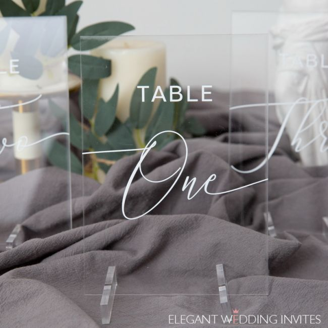 wedding table numbers acrylic table numbers clear and chic calligraphy ewsgt010 3