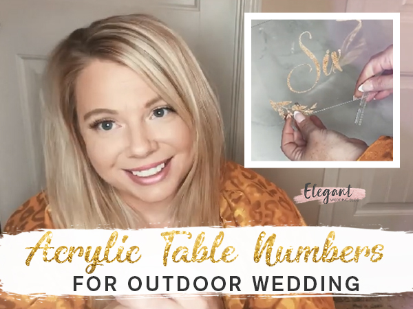 Photographer's Review Glitter Acrylic Table Cards for Outdoor Wedding Decor Ideas