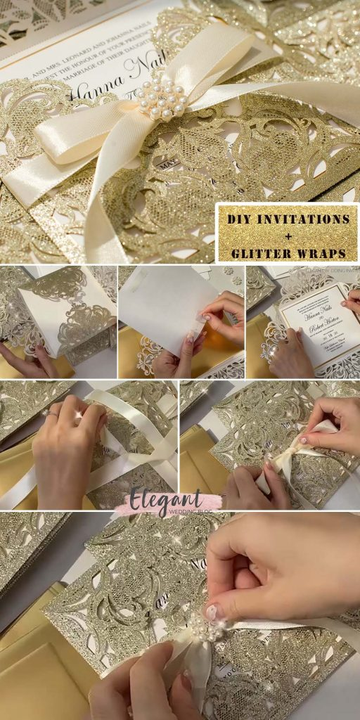 gorgeous champagne gold glitter pcoket to diy wedding card ideas